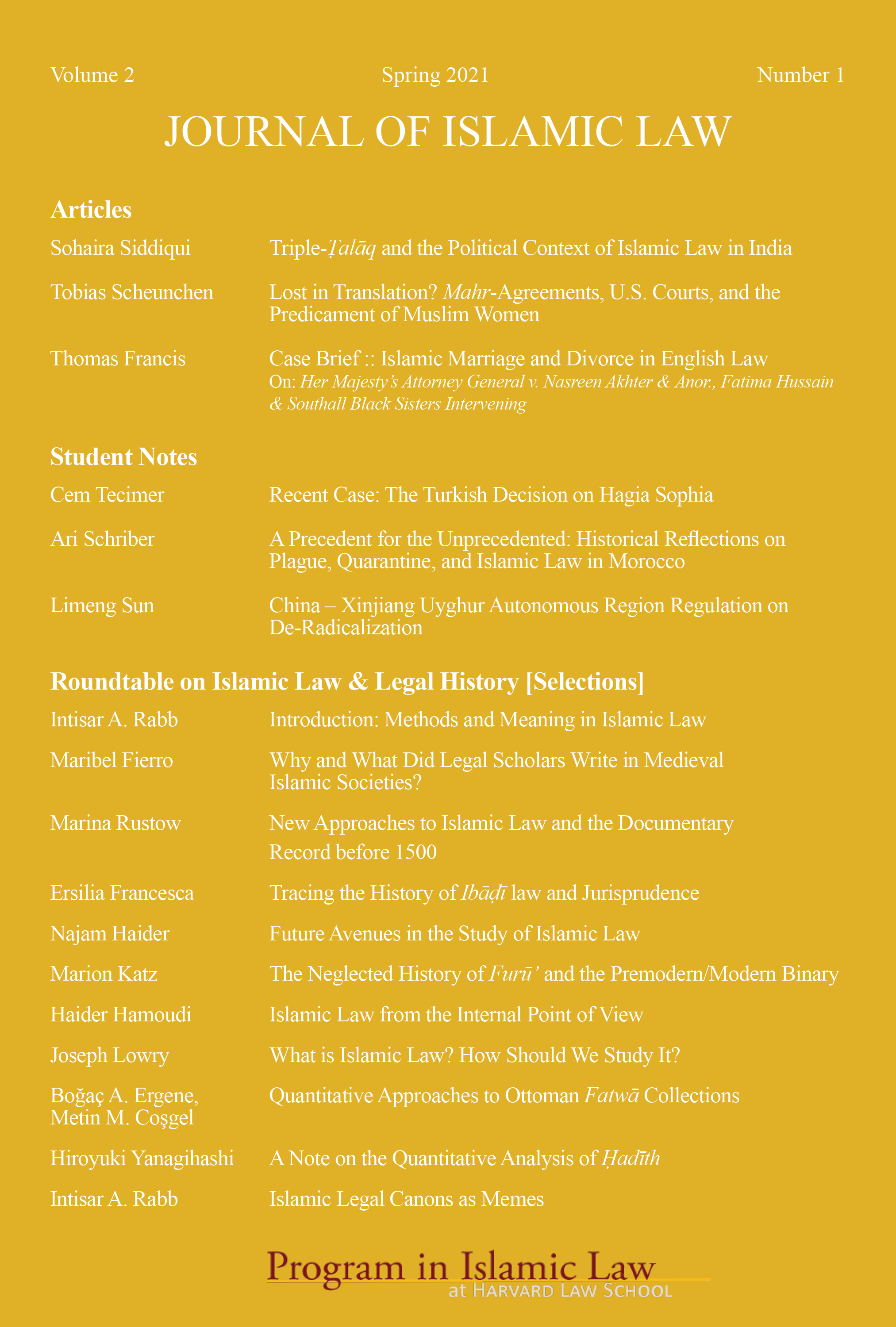 Journal of Islamic Law Volume 2, Number 1 (Spring 2021) Table of Contents